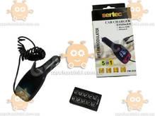 FM модулятор Sertec USB/пульт/MP3/12-24В/microSD/SD/microUSB зарядка 2,1А