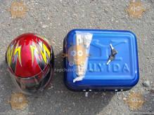 Багажник мото DELTA КОФРА железная синяя с шлемом (пр-во Тайвань) ПД 79878