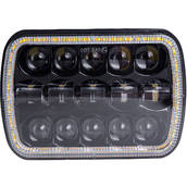 Фара LED КАМАЗ, МАЗ прямоугольная 75W (элемент оптический) (15х5Вт) (ближний+дальний+LED кольцо) АТП LED-C34+ring Предоплата