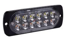Стробоскоп LED 12В,24В (12 Led диодов - 2 ряда) 112х41х10мм aluminum (super quality) желтый + белый АТП LED-12LEDflashLight Предоплата