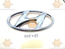 Эмблема Hyundai ХРОМ пластик (на скотче и направляющие) (Габариты: 85х170мм БОЛЬШАЯ) ЭМ 171203