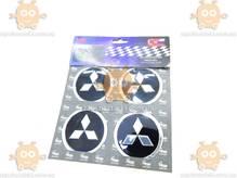 Эмблема колеса Mitsubishi 4ШТ (наклейка основание алюминий) (диаметр ф60мм)