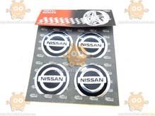 Эмблема колеса NISSAN 4ШТ (наклейка основание алюминий) (диаметр ф60мм)